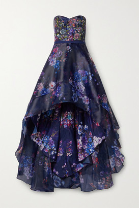 Marchesa Strapless Embellished Embroidered Floral-print Chiffon Gown - Blue