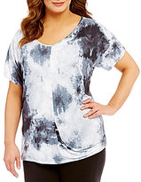 Peter Nygard Plus Tie Dye Twist Tee
