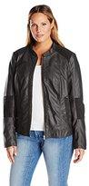 Junarose Women's Plus Size Ojetta Long Sleeve Shaped Short Faux Leather Jacket
