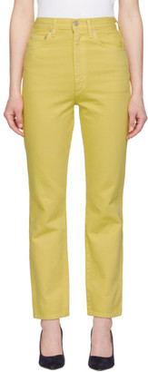 A Gold E Yellow Pinch Waist Hi Rise Kick Jeans