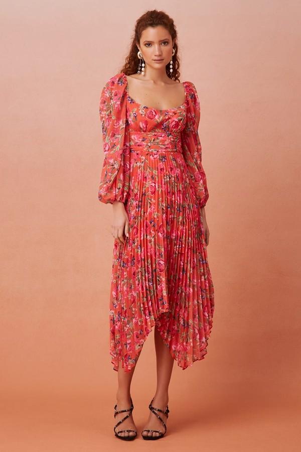 Keepsake NOMINAL LONG SLEEVE MIDI DRESS Tangerine Floral