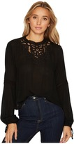 Brigitte Bailey Alannah Long Sleeve Top with Lace Detail Women's Clothing