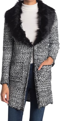 Cliche Wool Blended Faux Fur Collar Cardigan