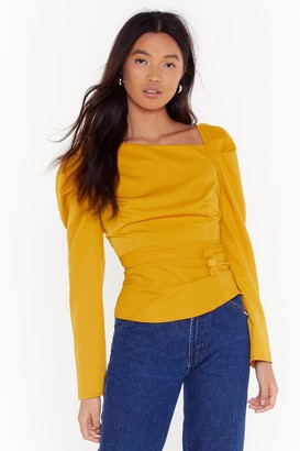 Nasty Gal Womens As Long As You Puff Me Button Blouse - yellow - 4
