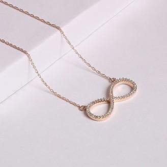 De Couer 10k Gold 1/6ct TDW Diamond Infinity Loop Necklace