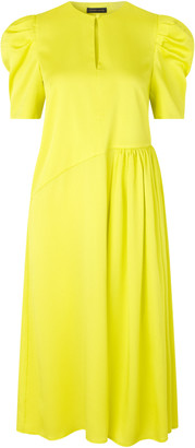 Stine Goya Kori Puffed Shoulder Midi Dress
