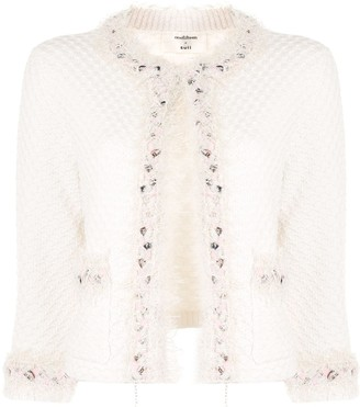Onefifteen Embellished Cropped Sleeve Tweed Jacket