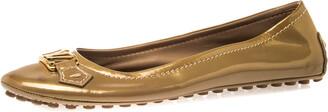 Louis Vuitton Gold Patent Leather Oxford Ballet Flats Size 40.5