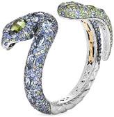 John Hardy Diamond gemstone 18k yellow gold silver swirl cuff