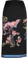 River Island Womens Black oriental print midi skirt