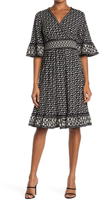 Max Studio Quarter Flutter Sleeve Wrap Front Dress