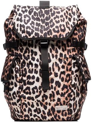 Ganni Leopard Print Backpack