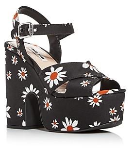 Miu Miu Women's Calzature Donna Floral Print Platform Sandals
