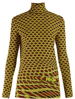 Prada Roll-neck Geometric-print Jersey Top - Womens - Green Multi