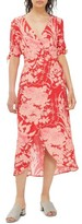 Topshop Women's Floral Tie Sleeve Wrap Midi Dress