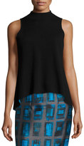 Milly Reversible Sleeveless High-Low Shell, Black/Azure