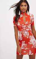 PrettyLittleThing Red Floral Lace Up Bodycon Dress
