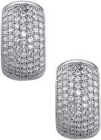 Lafonn Platinum Plated Sterling Silver Micro Pave Simulated Diamond Small Huggie Earrings