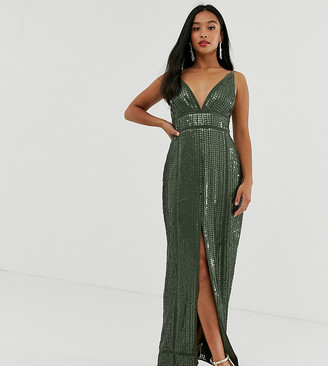 Asos DESIGN Petite embellished sequin maxi dress with ladder trim-Orange