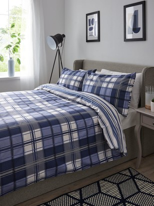 Check And Stripe Twin Pack Duvet Set - Sb