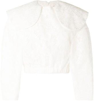 SHUSHU/TONG Lace Peter-Pan Collar Blouse