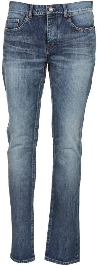 Saint Laurent Distressed Wash Skinny Jeans