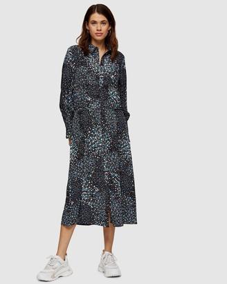 Topshop Floral Print Ruched Shirt Dress