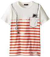 Junior Gaultier Strpied Short Sleeve Tee Shirt with ipod Print Boy's T Shirt