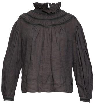 Etoile Isabel Marant Amalia Ladder-stitch Linen Blouse - Womens - Black