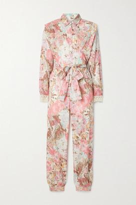 LoveShackFancy Morellia Belted Crochet-trimmed Floral-print Cotton-voile Jumpsuit - Pastel pink