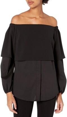 GUESS Women's Long Sleeve Annalisa Off Shoulder Shirt