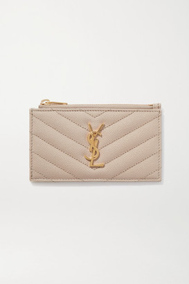 Saint Laurent Monogramme Quilted Textured-leather Wallet - Cream