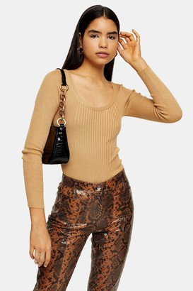 Topshop Womens Camel Knitted Scoop Neck Top - Camel