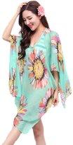 BIFINI Sunscreen Swimwear Bikini Cover Up Floral Lace Mini Beach Dress
