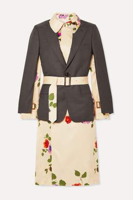 Junya Watanabe Layered Wool And Floral-print Satin-jacquard Jacket - Gray