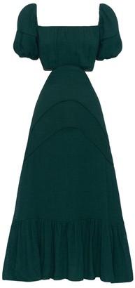 Peony Swimwear Cut-Out Puff Sleeve Midi Dress
