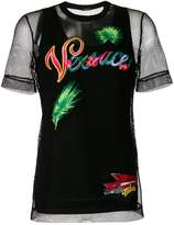 Versace embroidered layered mesh T-shirt