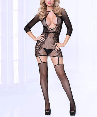 Seven Til Midnight Seven 'Til Midnight Seven 'til Midnight Women's Undergarment Bodysuits Black - Black Floral Fishnet Suspender Body Stocking - Women & Plus
