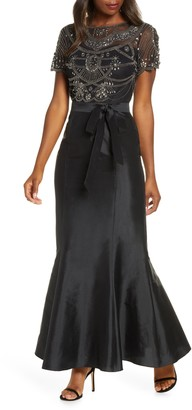 Pisarro Nights Beaded Bodice Taffeta Mermaid Gown