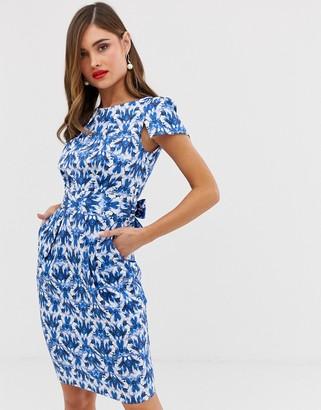 Closet London Cap Sleeve Wiggle Dress in blue jewel print