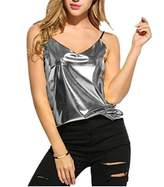 Xara Women's Sexy V-Neck Spaghetti Strap Wet Look Vest Clubwear Tank Tops (XL, )