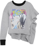 Maison Margiela Ruffled Printed Wool And Cotton-blend Jersey Sweatshirt - Gray