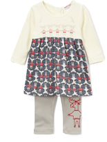 Baby Nay Ivory & Gray Embroidered Moose Tunic & Leggings - Infant
