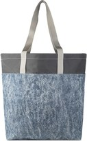 Nocturnal Workshop Indigo Acid Wash Denim Feather Tote Large