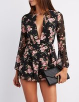 Charlotte Russe Floral Plunging Cut-Out Romper