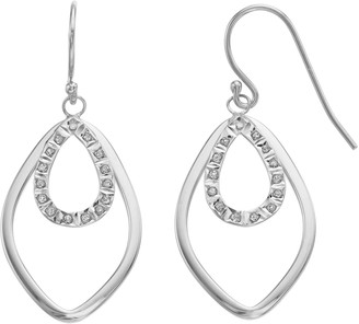 Mystique Diamond Platinum Over Silver Accent Double Marquise Teardrop Earrings