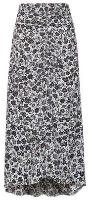 Dorothy Perkins Womens Black Mono Floral Print Ruched Midi Skirt, Black