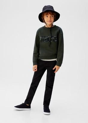 MANGO Textured embroidery sweatshirt khaki - 5 - Kids