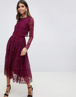 Asos Design DESIGN lace long sleeve midi prom dress-Red