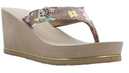Details about  /Women/'s GUESS Sarraly Eva Logo Wedge Sandals Gold// Iridescent Stones